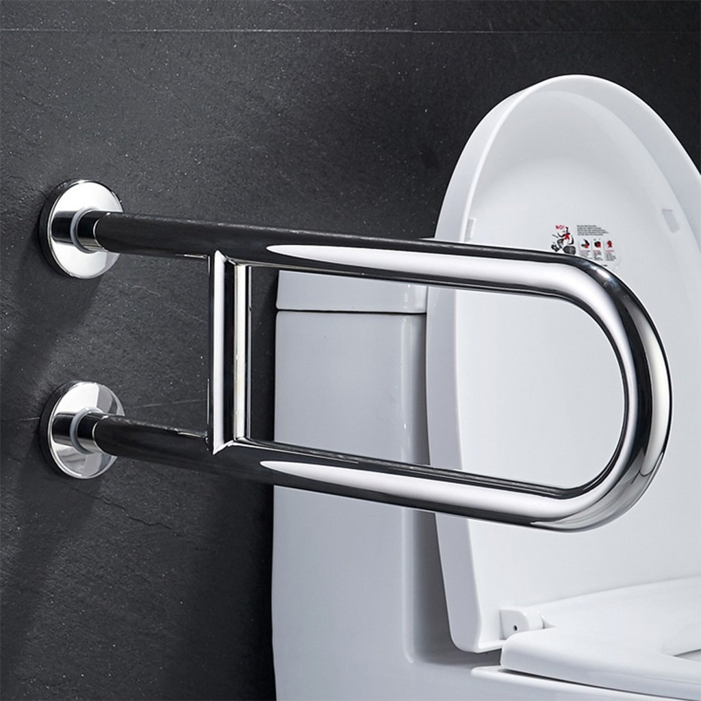 He Xiang Firm Bathroom stainless steel handrails elderly toilet seat support handrails anti-slip U handles (Color : A)