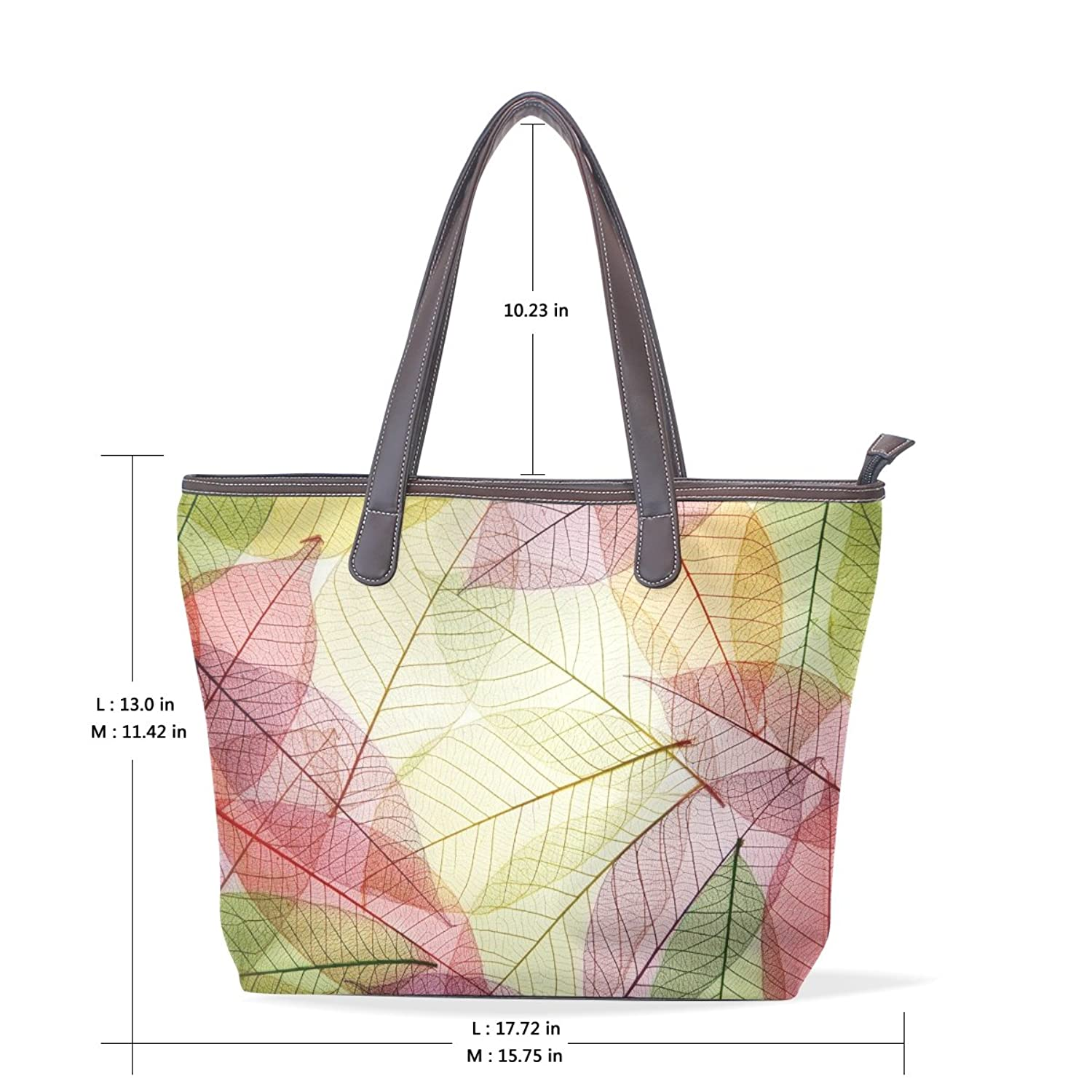Womens Leather Tote Bag,Art Colorful Leaves,Large Handbag