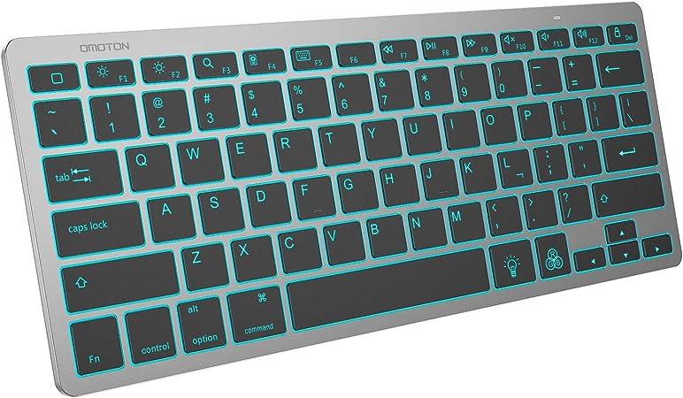 Amazon Com Omoton Ipad Keyboard 7 Color Backlit Rechargeable Portable Wireless Bluetooth Keyboard For Ipad 8th 7th Generation 10 2 Ipad Pro 12 9 11 Ipad Air 10 9 10 5 Ipad 9 7 Ipad Mini Grey Computers Accessories
