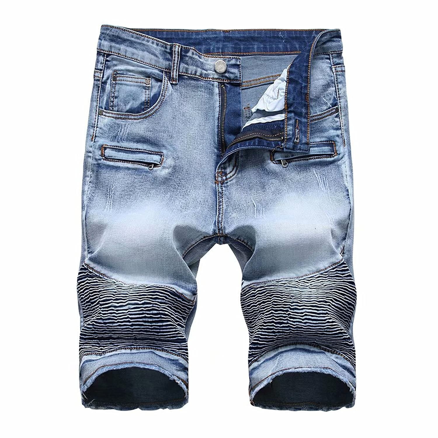 20db17bd1e Denim+Cotton Imported Zip closure with button fly closure. Mens men's  fashion casual ripped distressed jeans short straight fit casual stretch  zipper fly ...