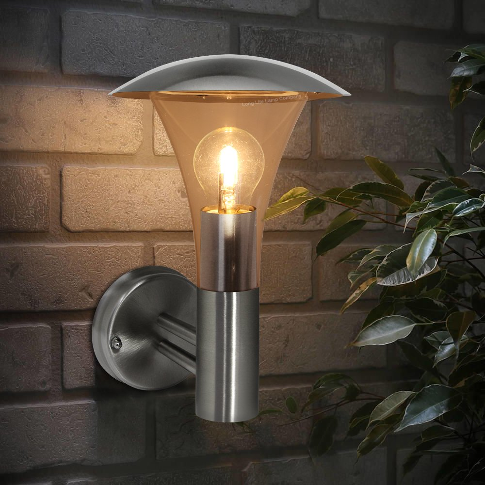 2 X Outdoor Garden Stainless Steel Wall Light IP44 ZLC011 Long Life Lamp Company ZLC0112P
