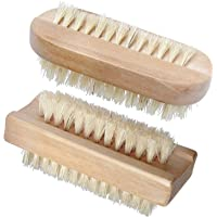 Beautyours Wooden Hand & Nail Brush 2-Pack Set - Natural Bristle SPA Dual Surface Two-Sided