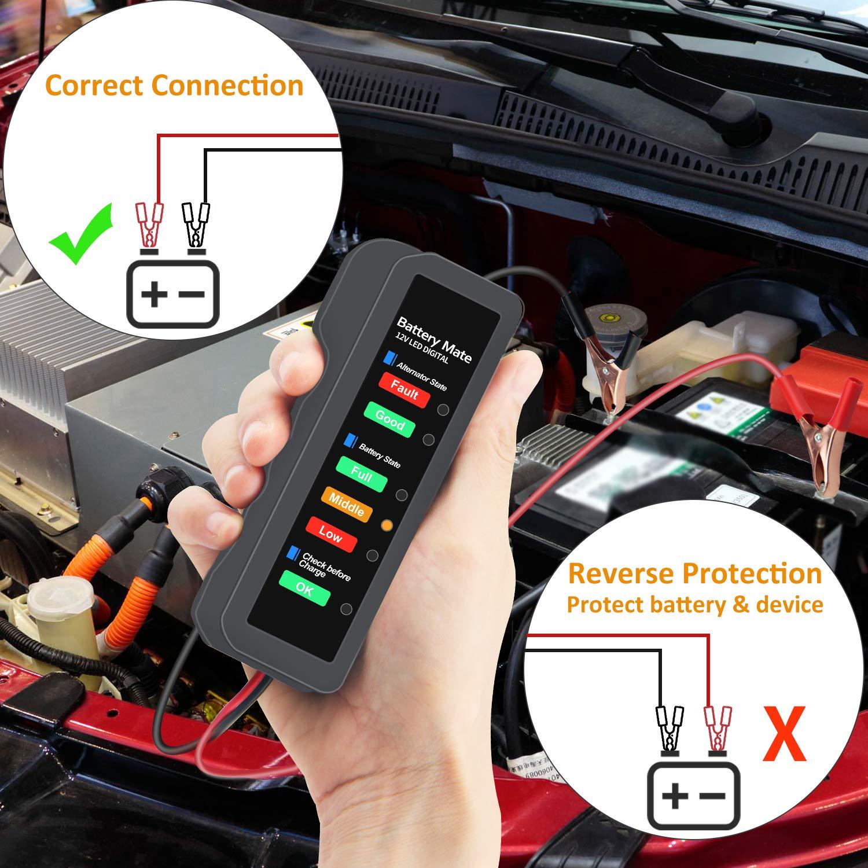 12V Autobatterie-Tester Digitaler Generator-Tester Batteriezustand und Aufladung des Generators f/ür Automotorr/äder pr/üfen
