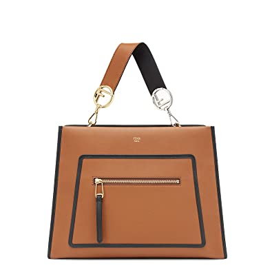 f5c1d40ca1b9 Fendi Shopping Bag Runaway Calf Leather Brown with Black Trim Handbag  8BH343  Handbags  Amazon.com