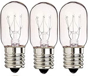 3 Pack 40 Watts Microwave Replacement Bulbs for Most Ge Ovens Replaces Part WB36X10003 40T8 Fits Intermediate E17 Base for Appliance Light Bulb MOL 2.5""