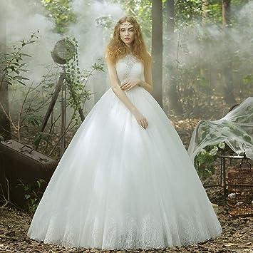 MOMO Vestido de Boda del Hombro del Cordón de la Boda Coreana Novia Yardas Grandes engrosadas
