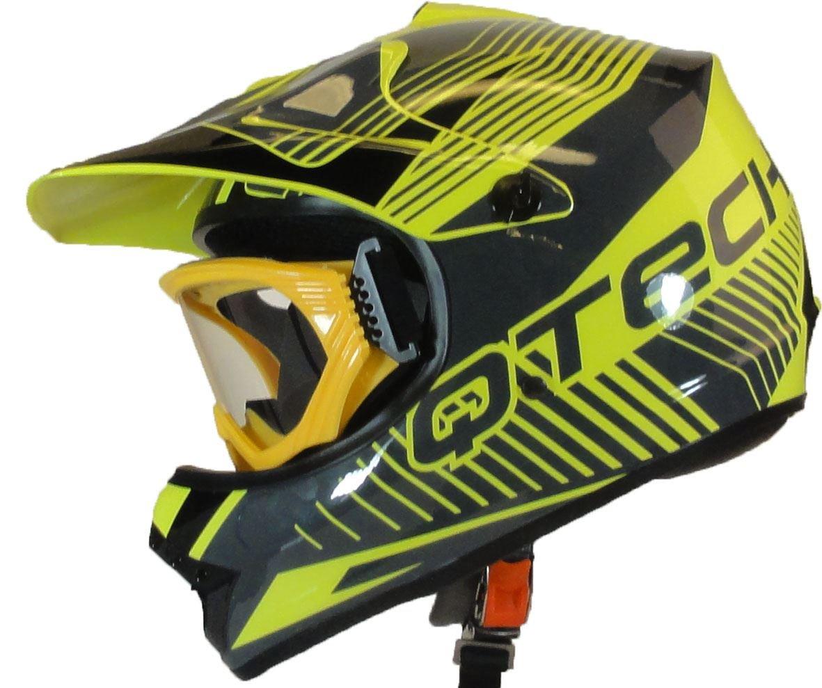 M Qtech Casque de Moto pour Enfant avec Lunettes de Protection Motocross Cross Noir Mat Orange