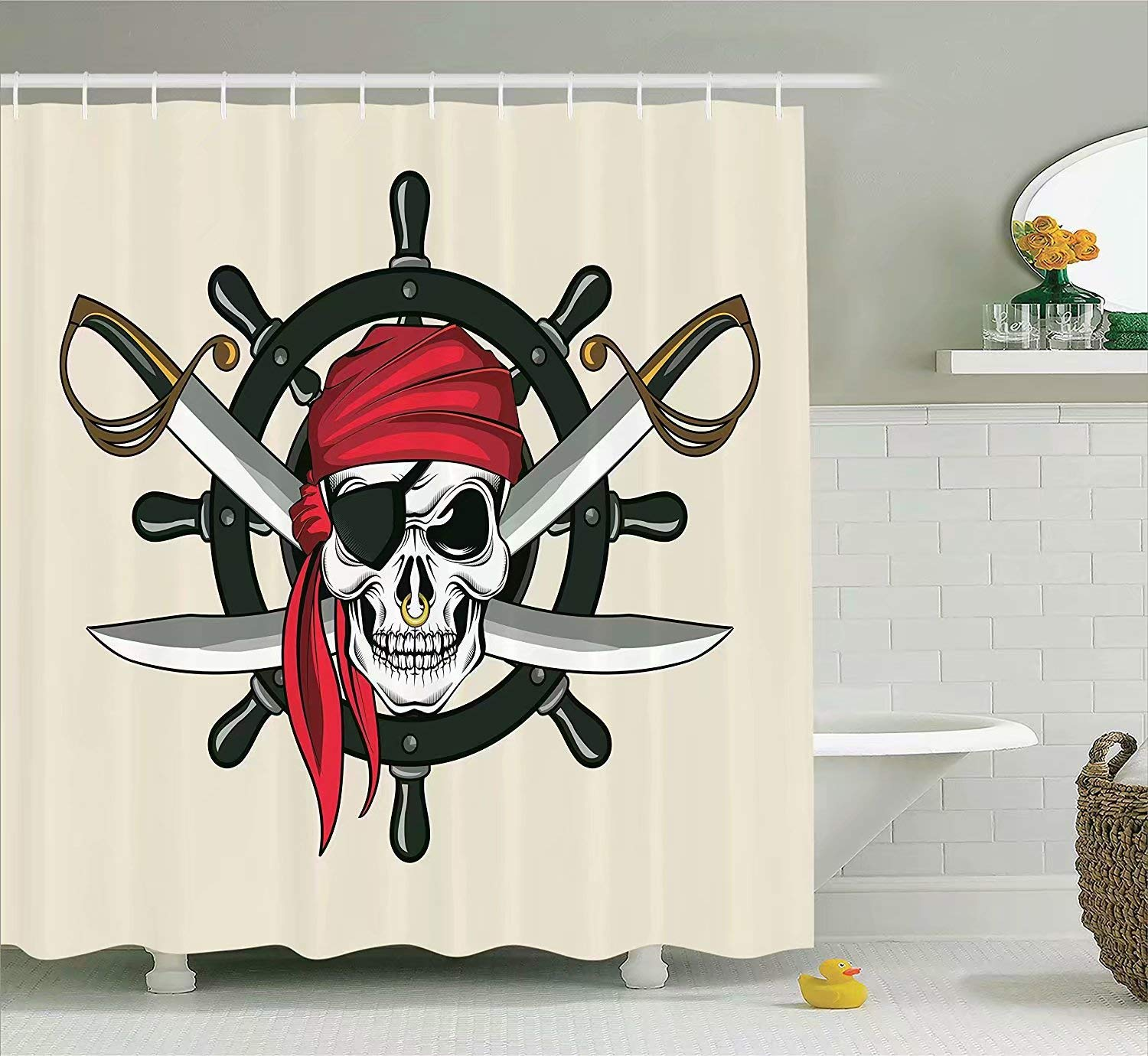 KANATSIU Pirate Skull Scarf Crossed Swords Violence Sea Sailing Image Shower Curtain 12 Plactic Hooks,100% Made Polyester,Mildew Resistant & Machine Washable,Width x Height is 60x72