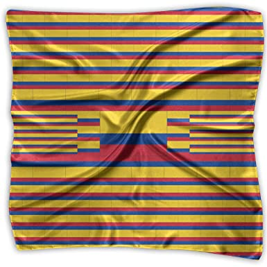 Square Satin Scarf Colombia Flag Silk Like Lightweight Bandanas ...