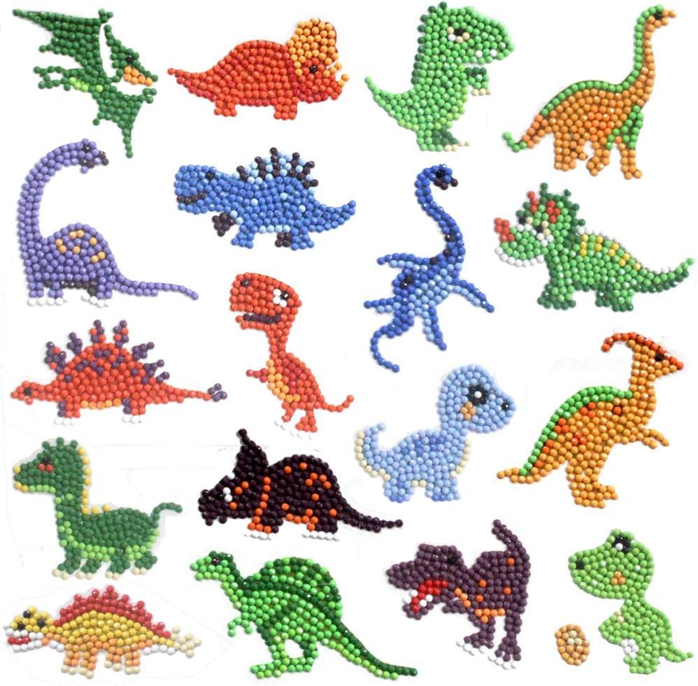 5D Dinosaur Diamond Painting Stickers Kit for Kids 18 Pieces