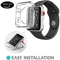 Apple watch series 2 3 case 38mm 42mm, iwatch 3 Case TPU case SEMI-Around 0.3mm Ultra-Slim Soft High Transparency Scratch-Resistant (42MM, Clear)