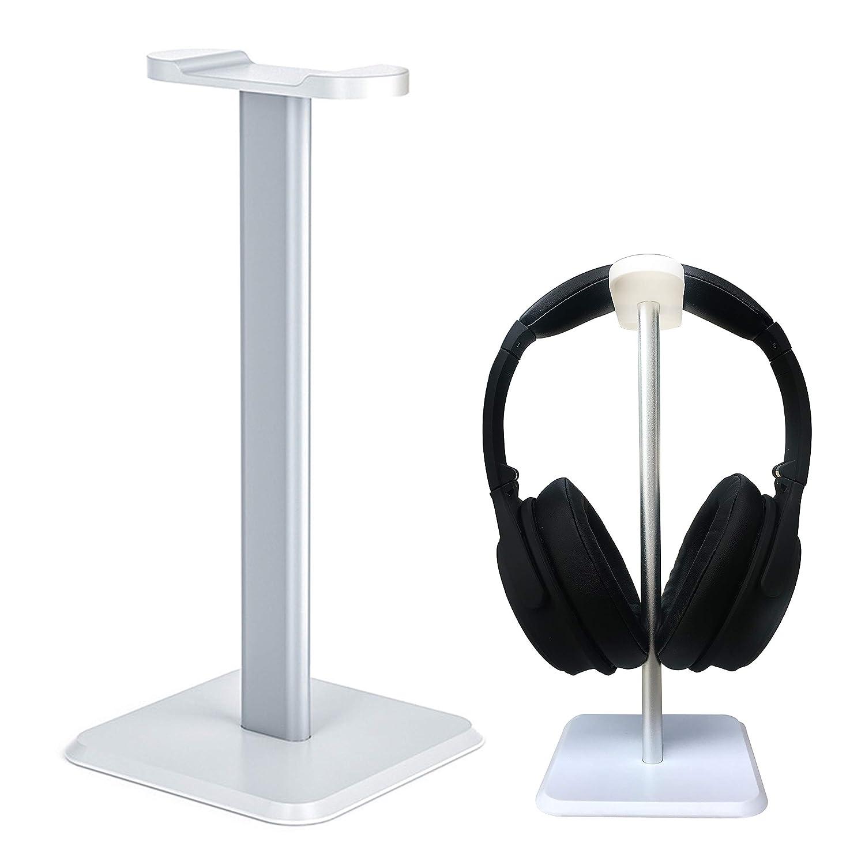 SOWND ヘッドフォンヘッドセットスタンド ゲーム用 アルミニウム製ヘッドセットホルダーハンガー ABS樹脂製ソリッドベース すべてのヘッドフォンサイズのテーブルディスプレイ ブラック&ホワイト (ヘッドセットは含まれません) ホワイト HS-003  ホワイト B07M5ZQ365