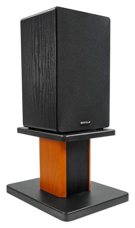 2 Rockville RHT8C Computer//Bookshelf Desktop Speaker//Studio Monitor Stands-Wood