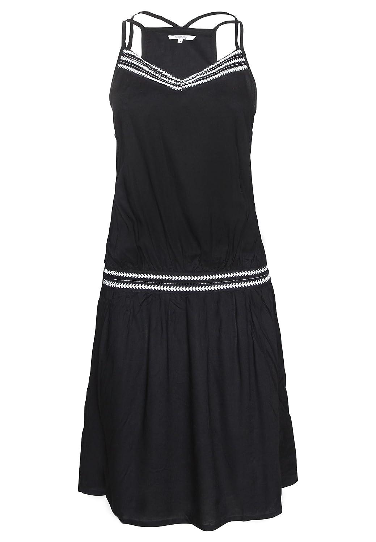 Stitch & Soul Schwarzes Trägerkleid aus leichter Viskose mit Spagethiträgern | Elegantes Sommerkleid mit V-Ausschnitt