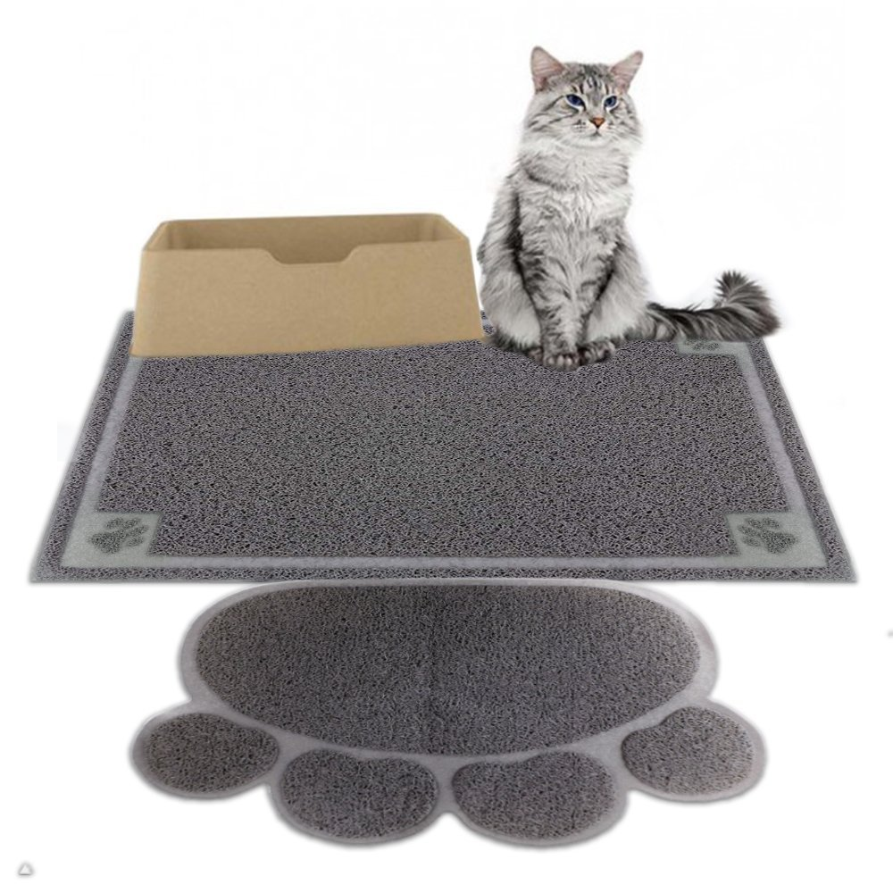 Cat Litter Mat 2 pcs Non Slip Kitty Mats size 35''x24'' and 18''x24'' for Small Pet Cat Kitten - Traps Litter from Box and Paws, Easy to Clean and Waterproof Cat Mat, Soft on Kitty Paws