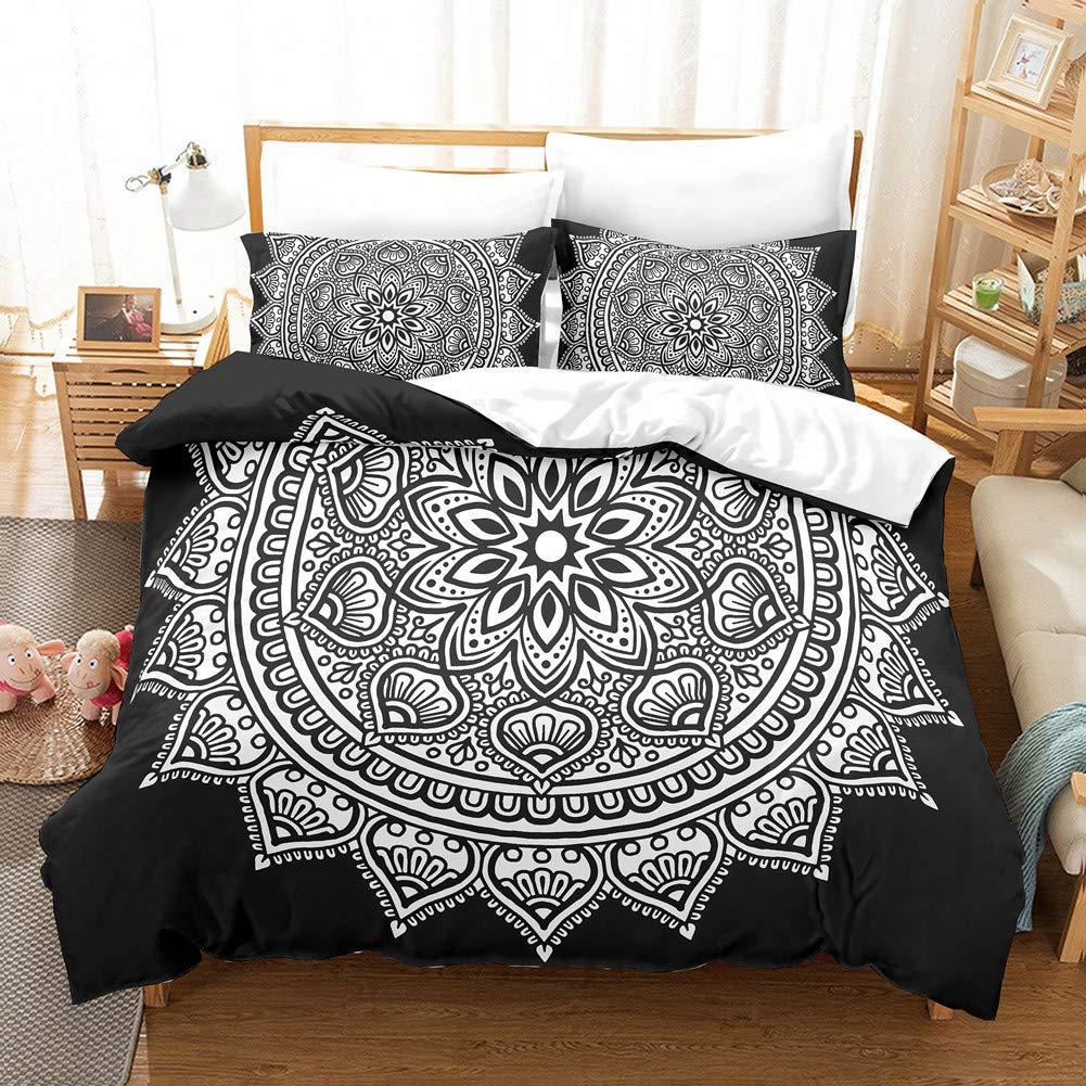 Bedbay Bohemian Bedding Set Black Boho Duvet Cover Set Queen Size (90' X 90), Black and White Bohemian Floral Bedding Set, 100% Microfiber Decorative Bedding Set for Kids, Teens, Adults (Queen, Black Boho)