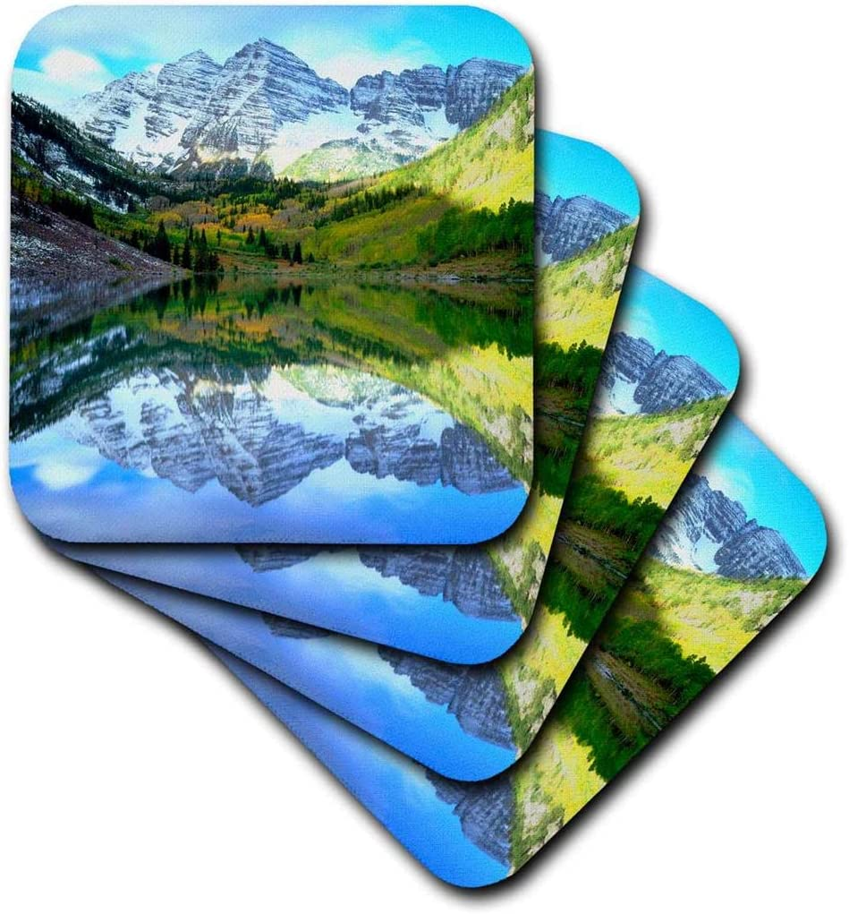 3dRose USA, Colorado. Rocky Mountains, Bells Reflect in Maroon Lake. -Soft Coasters, Set of 4 (CST_207843_1),Red