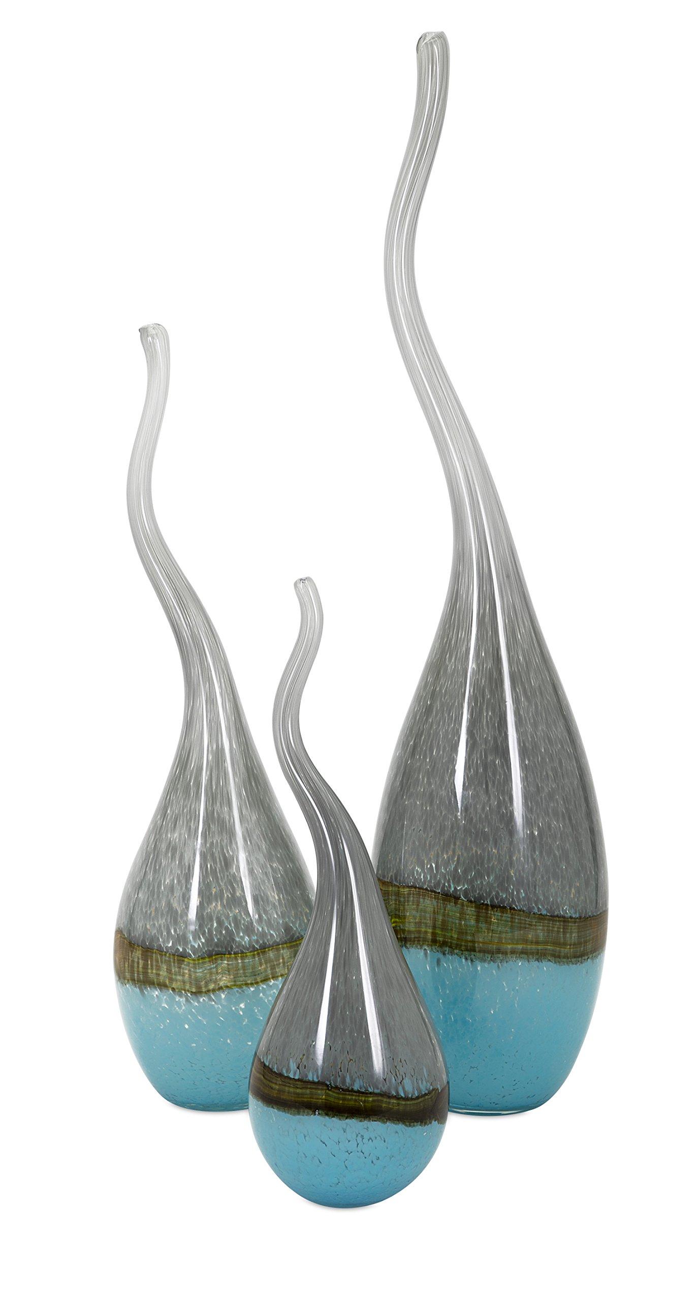 IMAX 47948-3 Squiggle Glass Vases - Set of Three