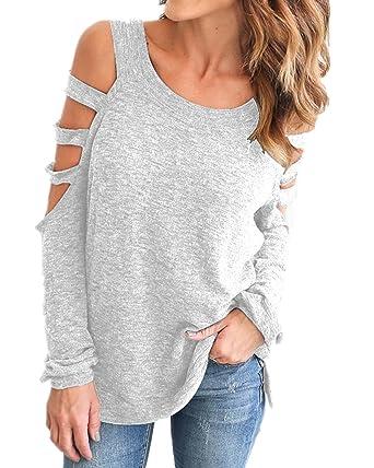 6c7eba41cbd Image Unavailable. Image not available for. Color: Auxo Women Cold Shoulder  Tops Sexy Cut Out Shirt Slit Long Sleeve Blouse ...