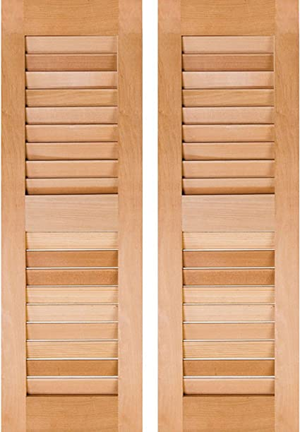 Primed 18W x 25H Per Pair Ekena Millwork RWL18X025PRP Exterior Real Wood Pine Open Louvered Shutters