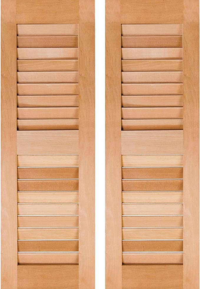 Amazon Com Ekena Millwork Rwl18x060unp Exterior Real Wood Pine Louvered Shutters Per Pair Unfinished 18 W X 60 H Home Improvement