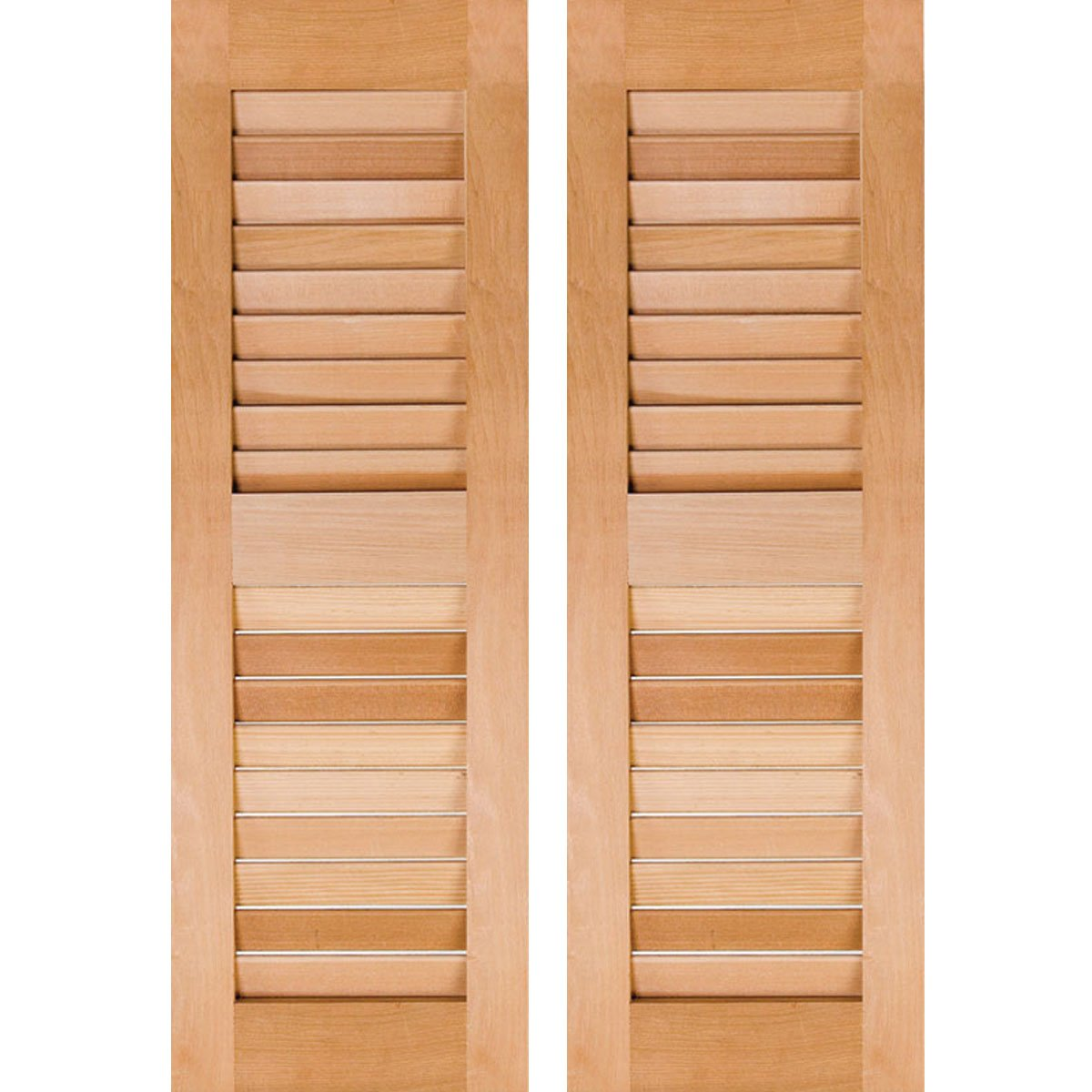 Ekena Millwork RWL15X026UNP Exterior Real Wood Pine Louvered Shutters (Per Pair), Unfinished, 15