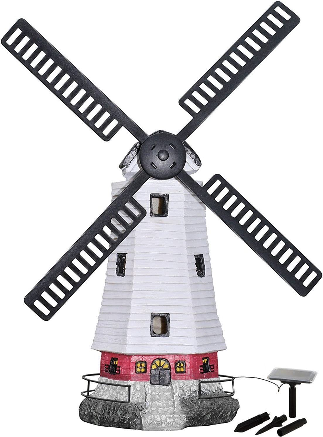 HONGVILLE Large Windmill Landscape Spotlights Garden Decor Solar Powered  LED Lighthouse