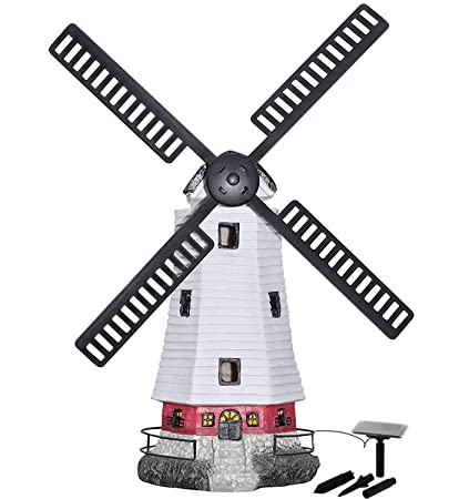 Merveilleux Hongville Large Windmill Landscape Spotlights Garden Decor Solar Powered  LED Lighthouse