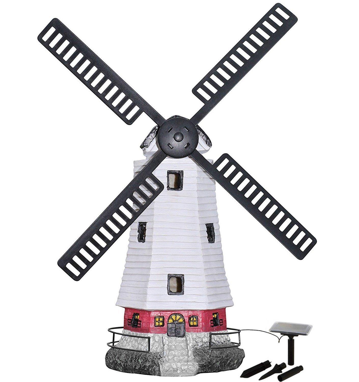 HONGVILLE Large Windmill Landscape Spotlights Garden Decor Solar Powered  LED Lighthouse