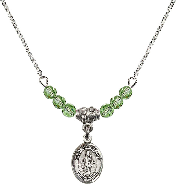 Bonyak Jewelry 18 Inch Rhodium Plated Necklace w// 4mm Green August Birth Month Stone Beads and Saint Cornelius Charm
