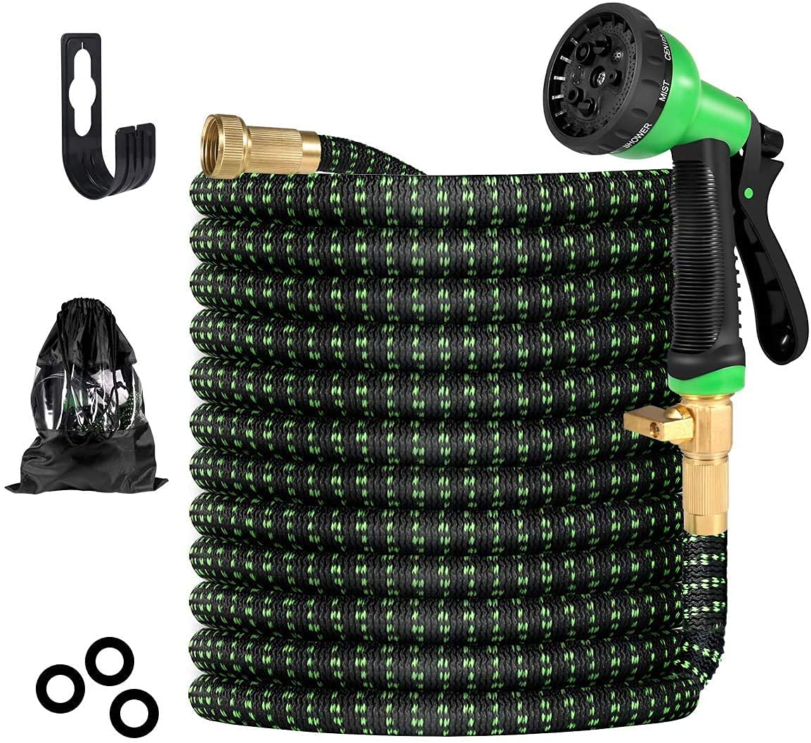 BIIBeSeamu Garden Hose 50FT Flexible Hose with Spray Nozzle Expandable Hose with