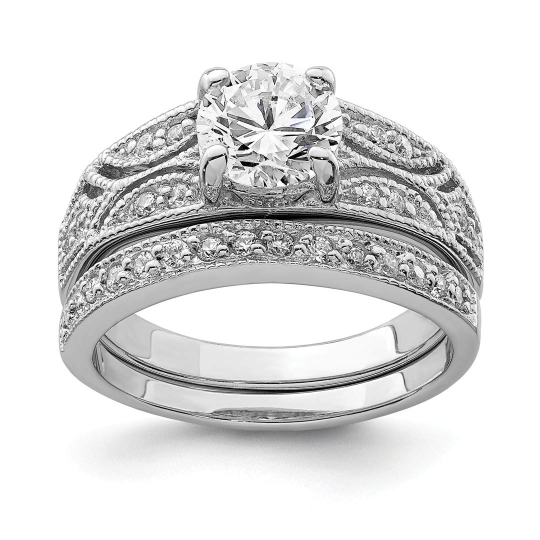 ICE CARATS 925 Sterling Silver 2 Piece Cubic Zirconia Cz Wedding Set Band Ring Size 7.00 Engagement Fine Jewelry Ideal Gifts For Women Gift Set From Heart