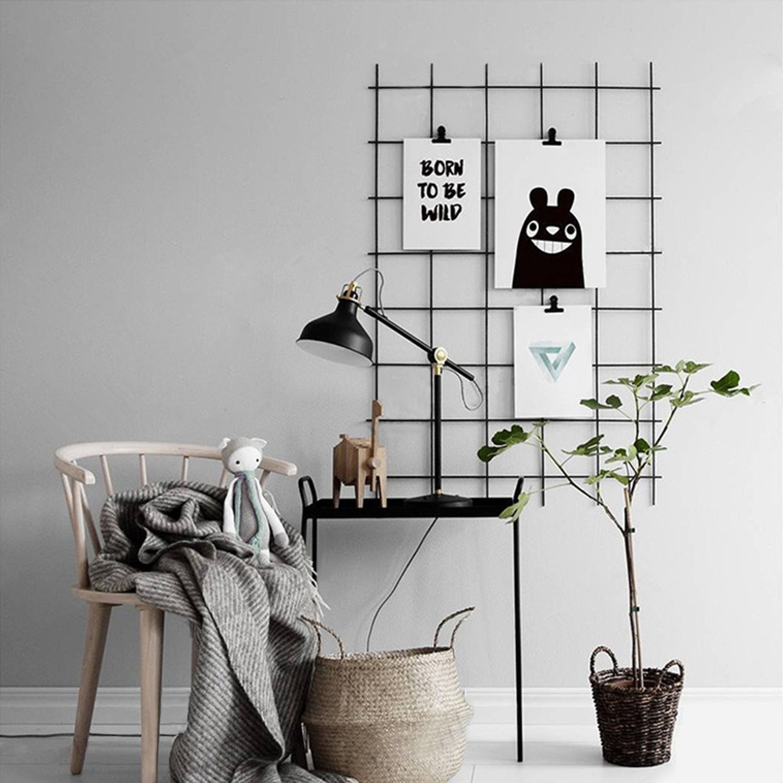 Kufox Wire Wall Gird Panel, Frameless Inspirational Quotes Photo Artwork Display and Wall Storage Organizer, Set of 1, Size 31.5'' X 20.5'' Black by Kufox