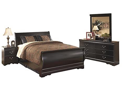Amazon.com: Ashley Huey Vineyard 4PC E King Sleigh Bedroom ...