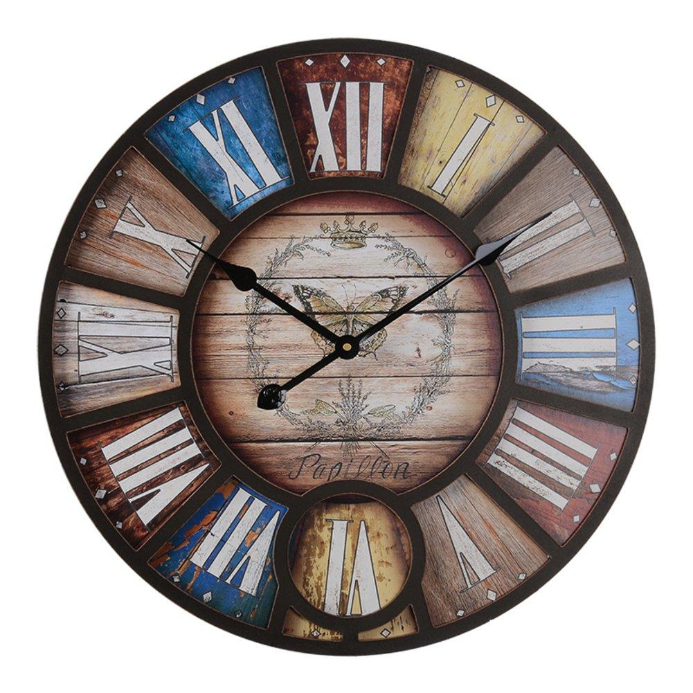 Reloj de pared vintage Reloj de pared digital grande Sala Bar pub Viento industrial Reloj decorativo Relojes retro vintage-B diámetro58cm(23inch): ...