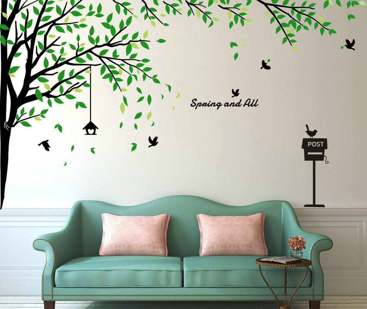 Fymural Large Brids Tree Wall Stickers Art Mural Wallpaper for Livingroom Kid Baby Nursery Background Vinyl Removable DIY Decals 116.9x70.9,Black+Green
