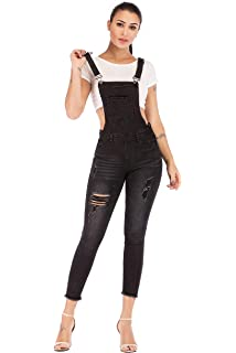 2671a2abdaf POPTIME Women s Jeans Jumpsuit Long Denim Ripped Distressed Trousers  Overalls Strap