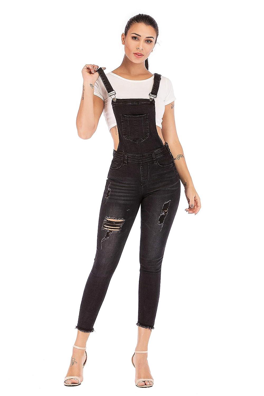 bf4fb56b818 Amazon.com  NAMENG Women Denim Bib Overall Distressed Stretch Twill  Jumpsuits  Clothing