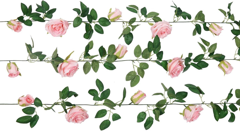 U'Artlines 3PCS Total 19.7Ft Artificial Rose Vine Silk Flower Garland Fake Hanging Plants for Indoor Outdoor Home Wedding Arch Garden Wall Decor(3PCS, Light Pink)
