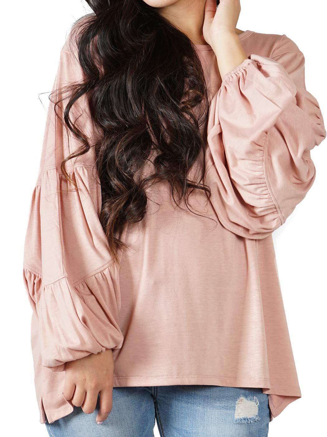 ANNA-KACI dam lampion långärmad söt mjuk lång fyrdelad blus pullover Shirt Top ROSA