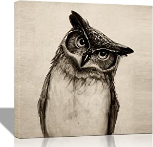 Purple Verbena Art 12''x12'' One Panel Cute Owl Picture Prints on Canvas Walls Artwrok, Modern Giclee Wall Painting for Home Office Decoration, Stretched and Framed, Ready to Hang