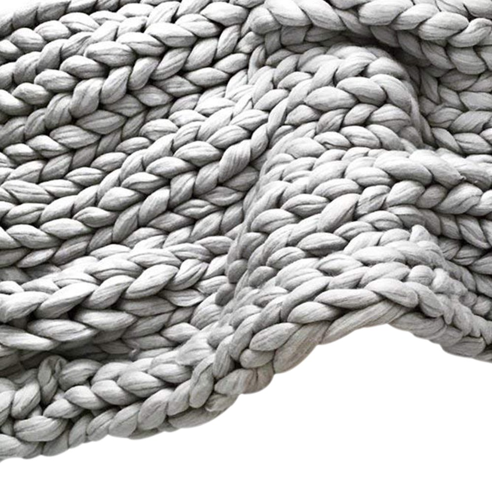 Light Grey Chunky Merino Wool Knit Throw,Giant Chunky Throw Arm Knit Blanket,51x67in Super Chunky Blanket,Super Thick Blanket,Decor Home & Bedroom by Clisil (Image #2)