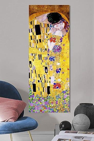 Quadri L&C ITALIA Il Bacio di Klimt Quadro Moderno 30 x 83 Stampa su Tela  per Soggiorno e Camera da Letto