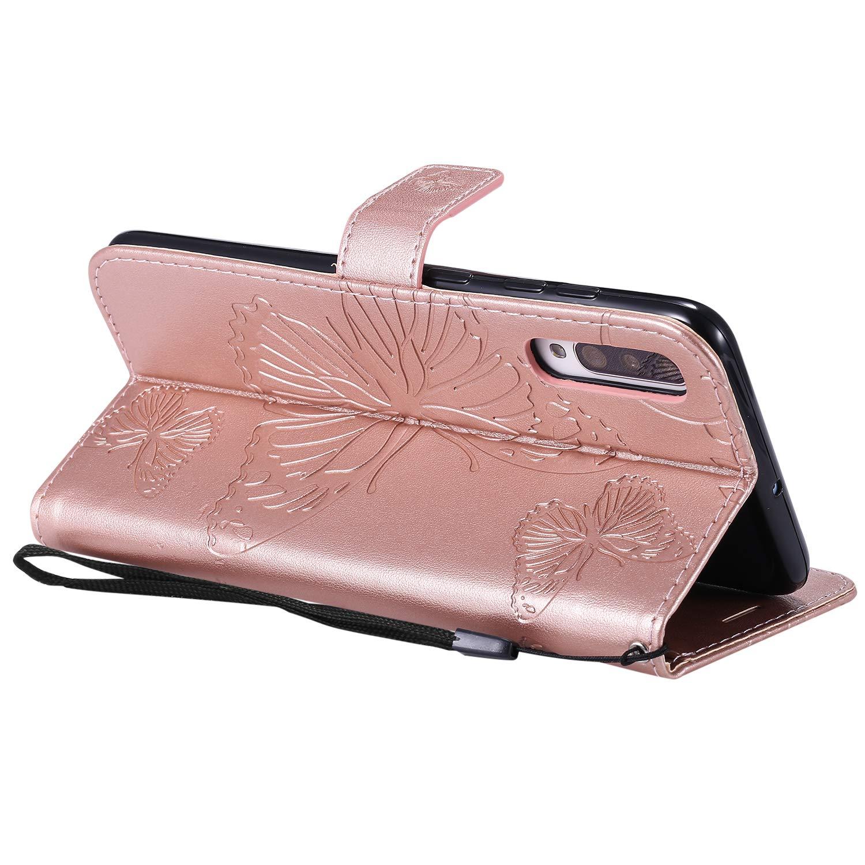 Lomogo Galaxy A70 H/ülle Leder Schutzh/ülle Brieftasche mit Kartenfach Klappbar Magnetverschluss Sto/ßfest Handyh/ülle Case f/ür Samsung Galaxy A70 LOKTU090168 Rosa Gold