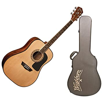 Washburn aprendiz 5 serie Dreadnought Guitarra w/carcasa ...