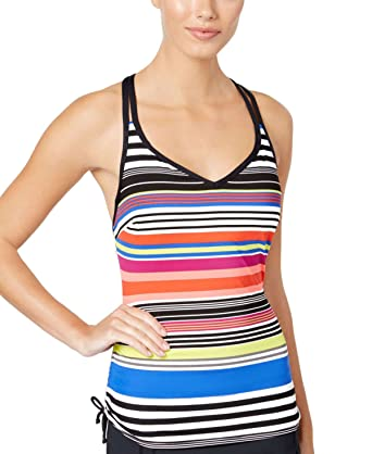 79e6265629 JAG Women's Reactive Striped Underwire D-Cup Tankini Top (Coral, 38D) at Amazon  Women's Clothing store: