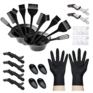 Inmorven Hair Dye Coloring Kit 24 Pieces Hair Dye Brush and Bowl Set With Mixing Spoon,Ear Cover,Gloves Hair Dye Tools for Hair Coloring Bleaching DIY Salon & Home Hair Coloring Cover Up Grey Hair.