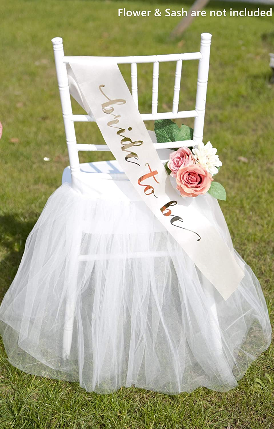 """UNIQOOO Chair Tulle Tutu Decoration for Bridal Shower   Birthday Party, Veil Fluffy Look in White Color - Great for Wedding, Baby Shower – Party Accessory Supplies, 20"""" x 20"""" - Fit Standard Chair"""