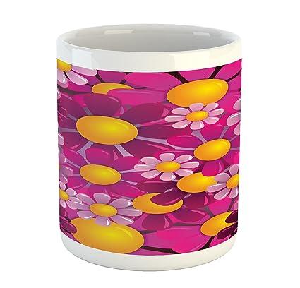 fd050cc6e16 Amazon.com: Ambesonne Abstract Mug, Flowers Cartoon Summer Garden ...
