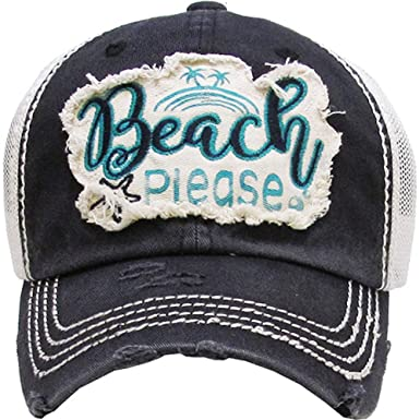 Kbethos Trading Beach Please Women s Vintage Cotton Mesh Baseball Hat  (Black) 021e4506f99